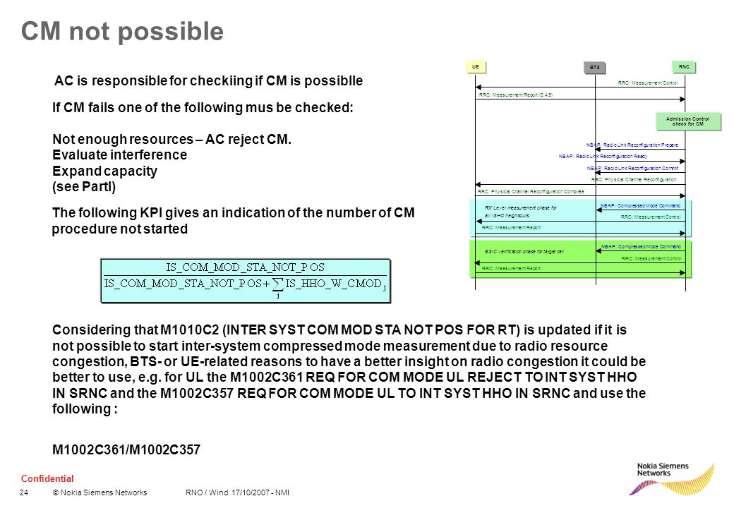 Confidential 24© Nokia Siemens Networks RNO / Wind 17/10/2007 - NMI CM not possible The following KPI gives an indication of the number of CM procedur