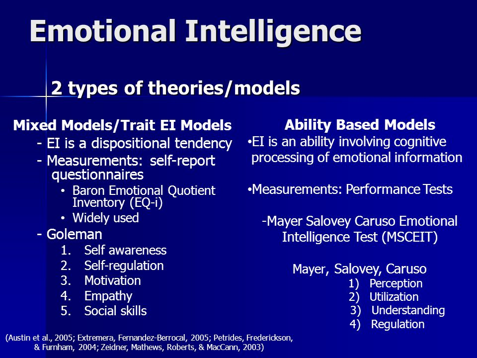 Emotional Intelligence 2 types of theories/models 2 types of theories/models Mixed Models/Trait EI Models - EI is a dispositional tendency - Measureme