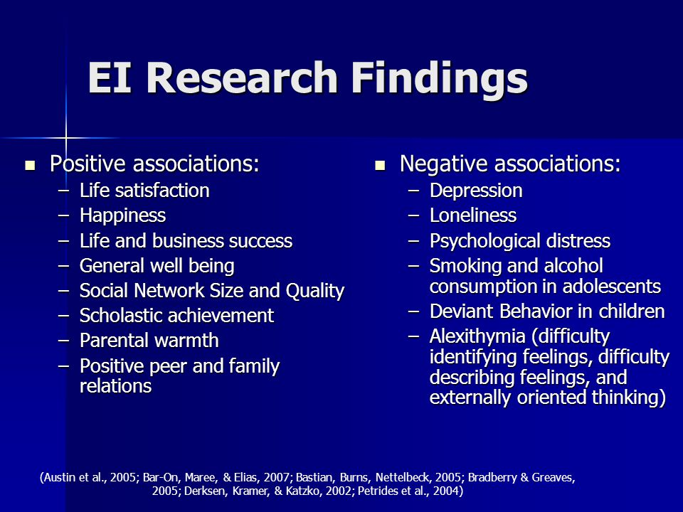 EI Research Findings Positive associations: Positive associations: –Life satisfaction –Happiness –Life and business success –General well being –Socia