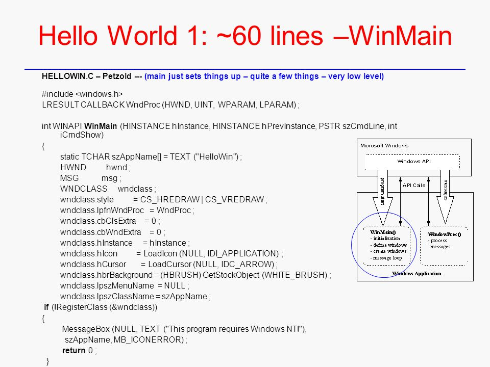 Hello World 1: ~60 lines –WinMain HELLOWIN.C – Petzold --- (main just sets things up – quite a few things – very low level) #include LRESULT CALLBACK WndProc (HWND, UINT, WPARAM, LPARAM) ; int WINAPI WinMain (HINSTANCE hInstance, HINSTANCE hPrevInstance, PSTR szCmdLine, int iCmdShow) { static TCHAR szAppName[] = TEXT ( HelloWin ) ; HWND hwnd ; MSG msg ; WNDCLASS wndclass ; wndclass.style = CS_HREDRAW | CS_VREDRAW ; wndclass.lpfnWndProc = WndProc ; wndclass.cbClsExtra = 0 ; wndclass.cbWndExtra = 0 ; wndclass.hInstance = hInstance ; wndclass.hIcon = LoadIcon (NULL, IDI_APPLICATION) ; wndclass.hCursor = LoadCursor (NULL, IDC_ARROW) ; wndclass.hbrBackground = (HBRUSH) GetStockObject (WHITE_BRUSH) ; wndclass.lpszMenuName = NULL ; wndclass.lpszClassName = szAppName ; if (!RegisterClass (&wndclass)) { MessageBox (NULL, TEXT ( This program requires Windows NT! ), szAppName, MB_ICONERROR) ; return 0 ; } (cont'd)