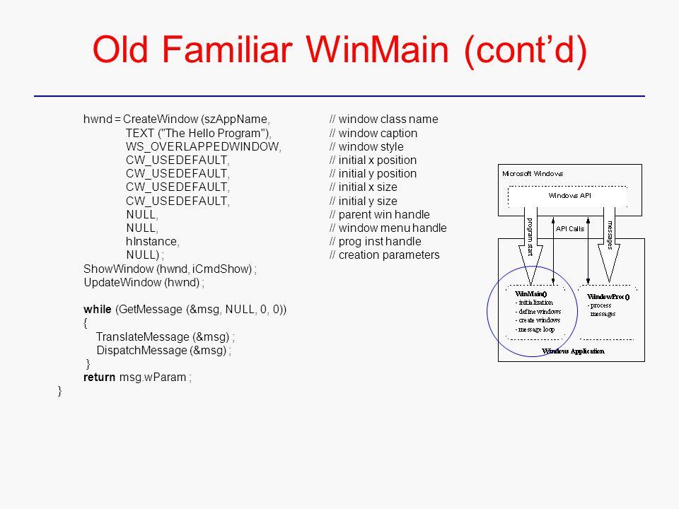 Old Familiar WinMain (cont'd) hwnd = CreateWindow (szAppName, // window class name TEXT (