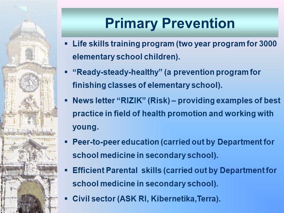  Life skills training program (two year program for 3000 elementary school children).