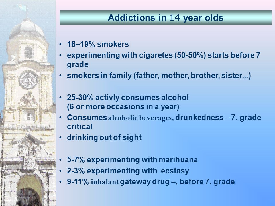 16–19% smokers experimenting with cigaretes (50-50%) starts before 7 grade smokers in family (father, mother, brother, sister...) 25-30% activly consumes alcohol (6 or more occasions in a year) Consumes alcoholic beverages, drunkedness – 7.