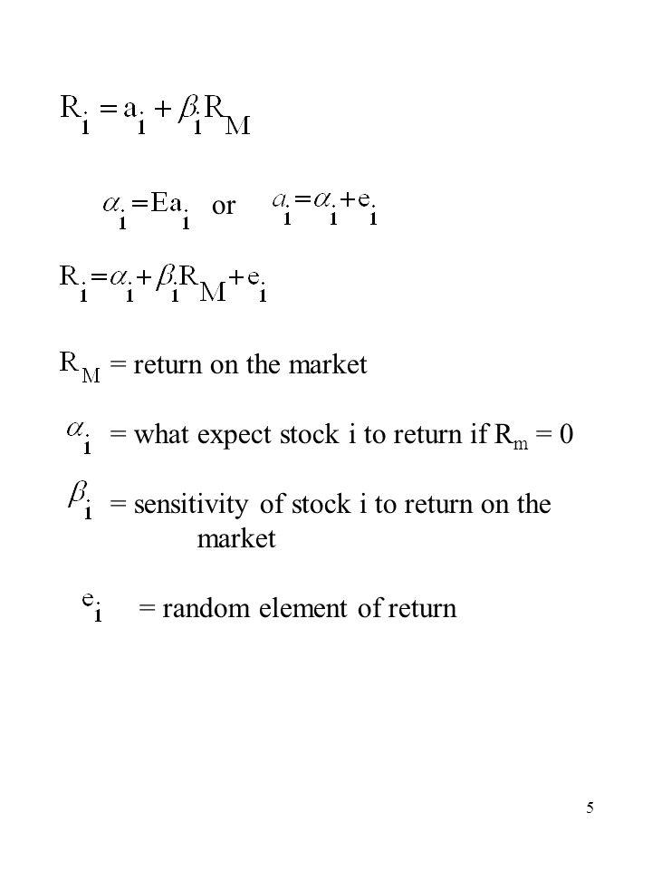 6 Sharpe Single Index Models Basic Equation By Construction i = 1,2,…N By Definition i = 1,2,…N By Assumption i = 1,2,…N