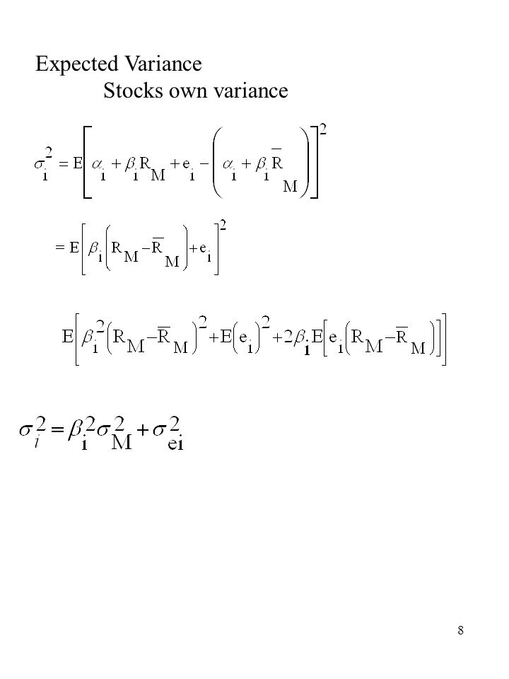 8 Expected Variance Stocks own variance