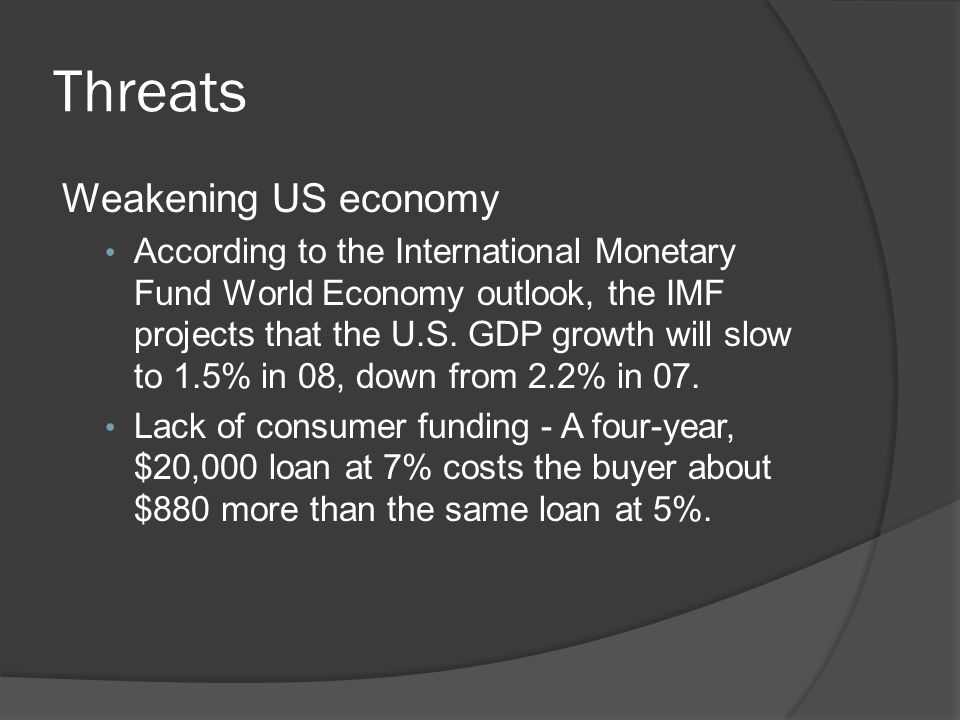 Threats Weakening US economy According to the International Monetary Fund World Economy outlook, the IMF projects that the U.S. GDP growth will slow t