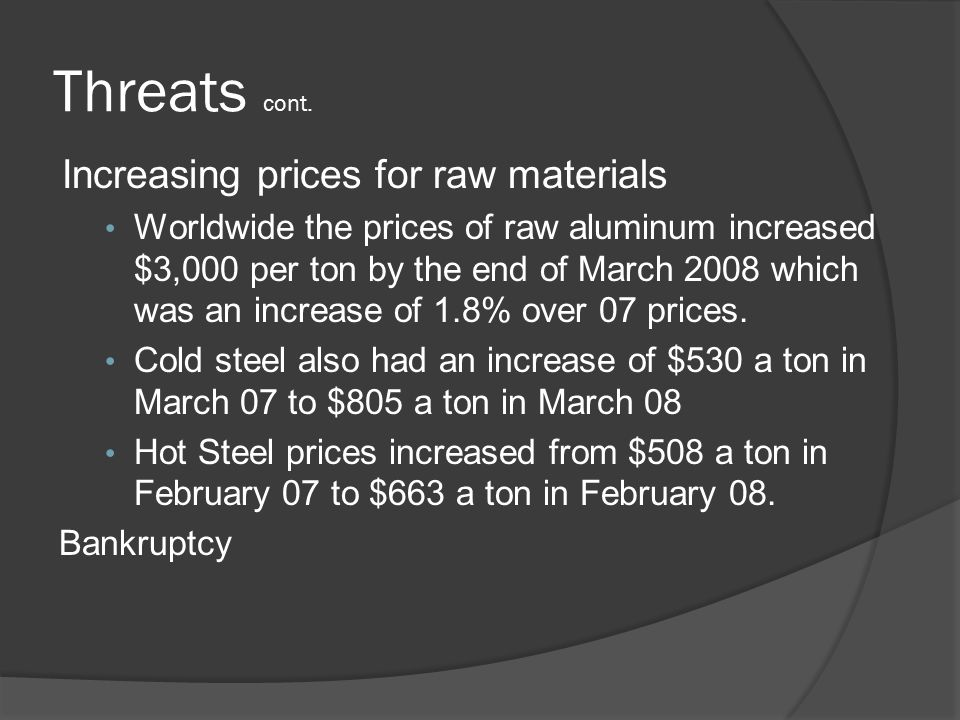 Threats cont. Increasing prices for raw materials Worldwide the prices of raw aluminum increased $3,000 per ton by the end of March 2008 which was an