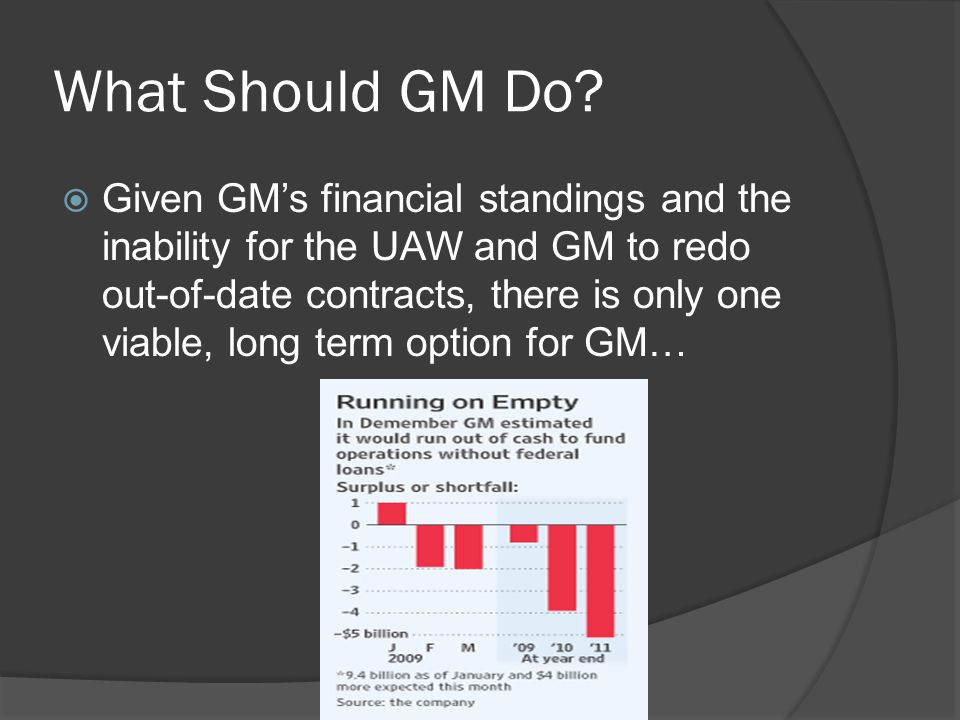 What Should GM Do?  Given GM's financial standings and the inability for the UAW and GM to redo out-of-date contracts, there is only one viable, long