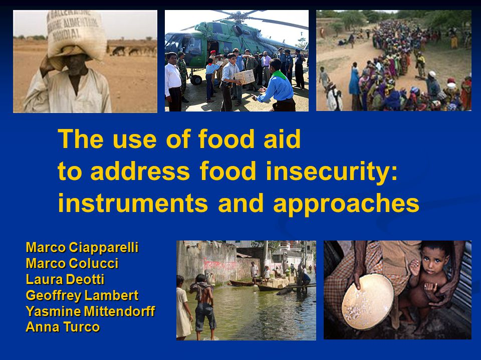 Marco Ciapparelli Marco Colucci Laura Deotti Geoffrey Lambert Yasmine Mittendorff Anna Turco The use of food aid to address food insecurity: instruments and approaches