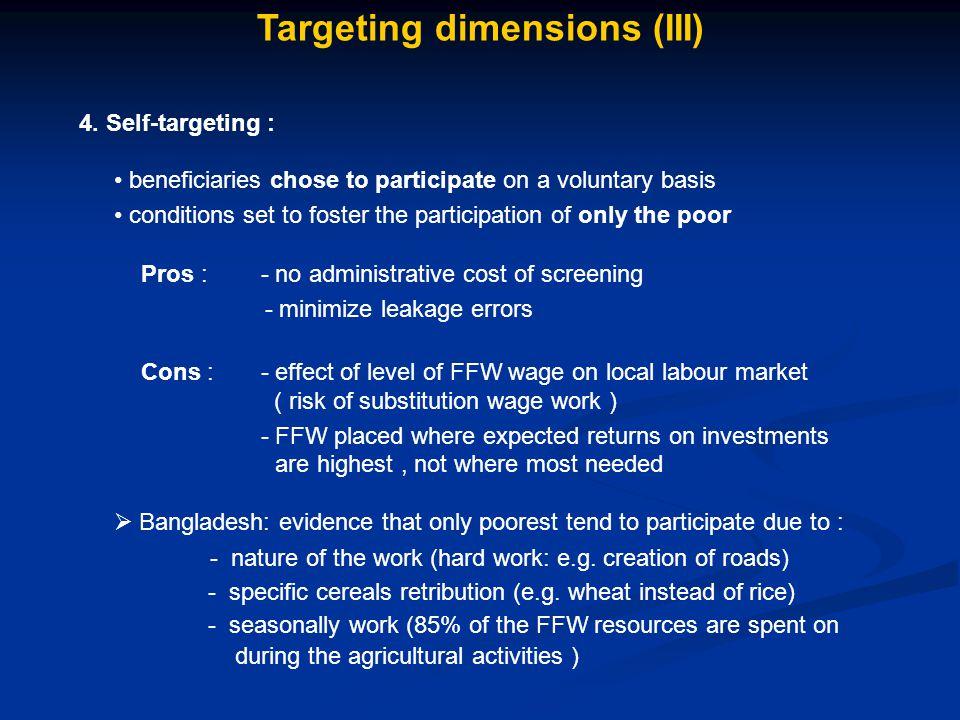 Targeting dimensions (III) 4.
