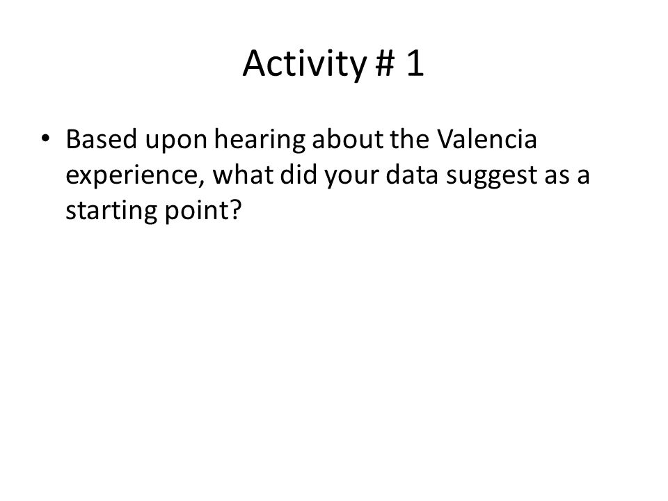 Activity # 1 Based upon hearing about the Valencia experience, what did your data suggest as a starting point