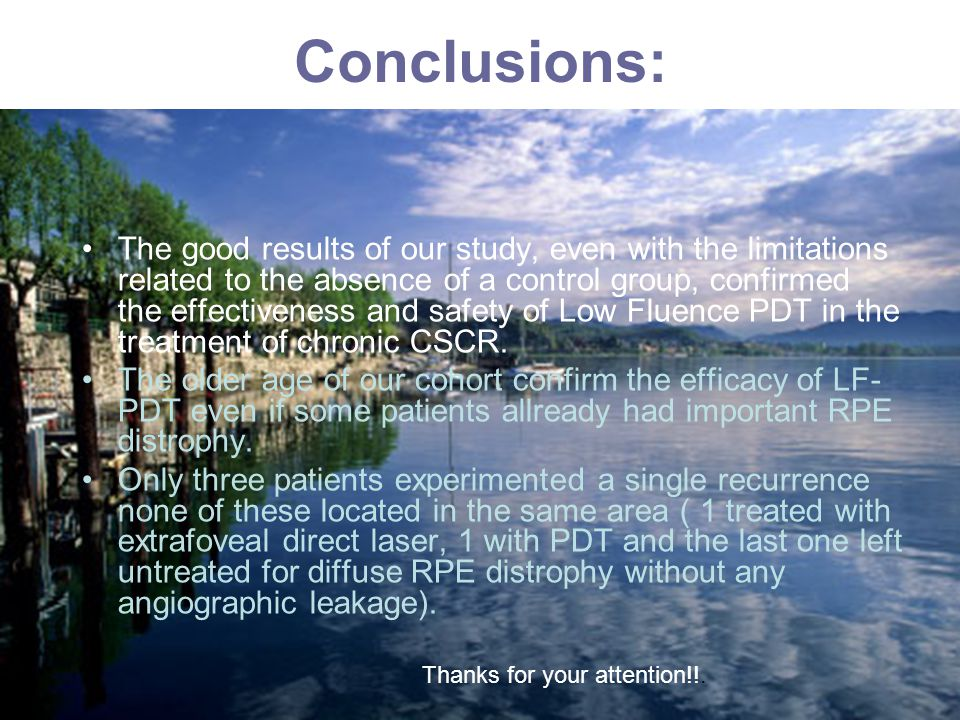 Conclusions: The good results of our study, even with the limitations related to the absence of a control group, confirmed the effectiveness and safety of Low Fluence PDT in the treatment of chronic CSCR.