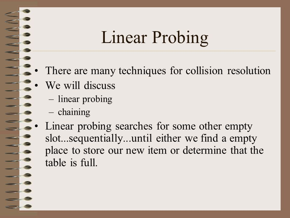 Linear Probing There are many techniques for collision resolution We will discuss –linear probing –chaining Linear probing searches for some other emp