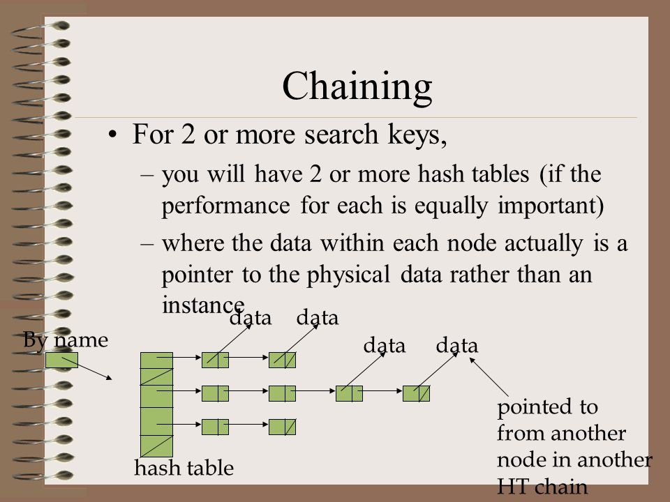 Chaining For 2 or more search keys, –you will have 2 or more hash tables (if the performance for each is equally important) –where the data within eac