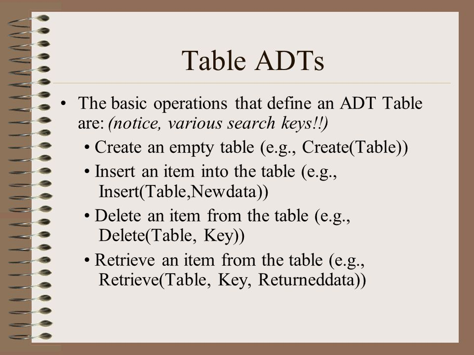 Hash tables Delete would work the same way.Notice we never have to search for an item.