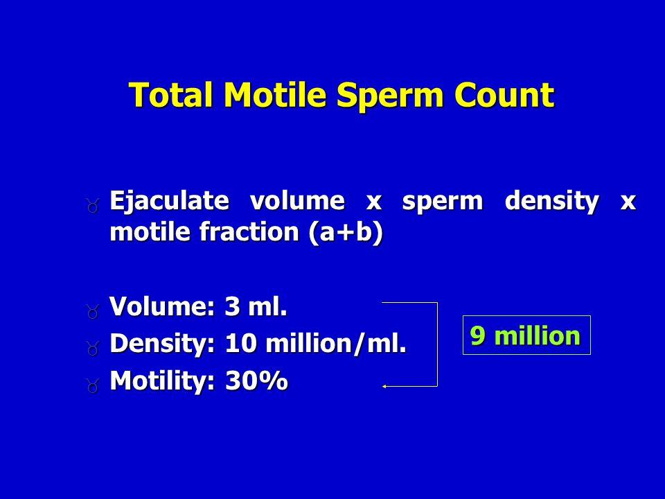 Total Motile Sperm Count  Ejaculate volume x sperm density x motile fraction (a+b)  Volume: 3 ml.  Density: 10 million/ml.  Motility: 30% 9 millio