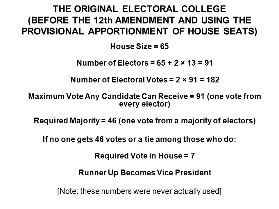 THE ORIGINAL ELECTORAL COLLEGE (BEFORE THE 12th AMENDMENT AND USING THE PROVISIONAL APPORTIONMENT OF HOUSE SEATS) House Size = 65 Number of Electors = 65 + 2 × 13 = 91 Number of Electoral Votes = 2 × 91 = 182 Maximum Vote Any Candidate Can Receive = 91 (one vote from every elector) Required Majority = 46 (one vote from a majority of electors) If no one gets 46 votes or a tie among those who do: Required Vote in House = 7 Runner Up Becomes Vice President [Note: these numbers were never actually used]