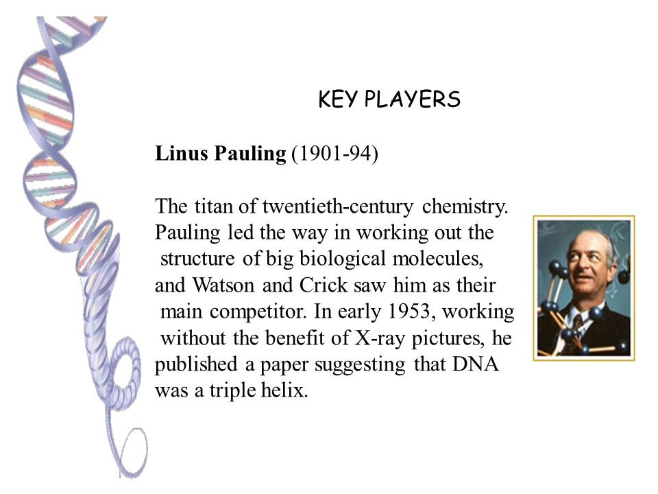 KEY PLAYERS Rosalind Franklin (1920-58) Franklin, trained as a chemist, was expert in deducing the structure of molecules by firing X-rays through the
