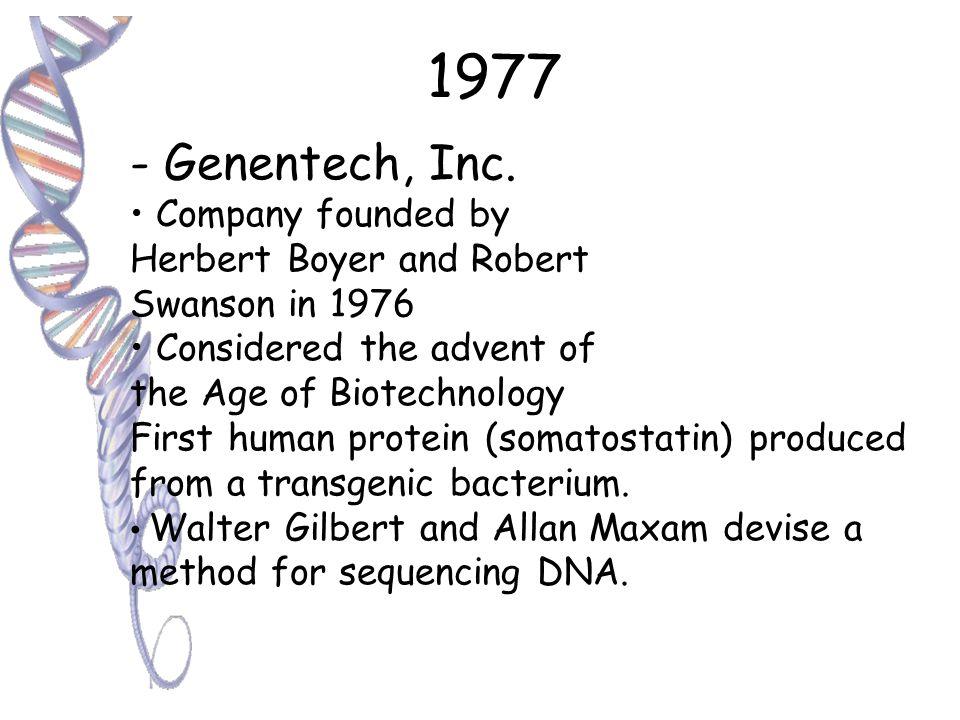 1972 - Paul Berg Produces first recombinant DNA using EcoRI 1973 -Boyer, Cohen & Chang Transform E.
