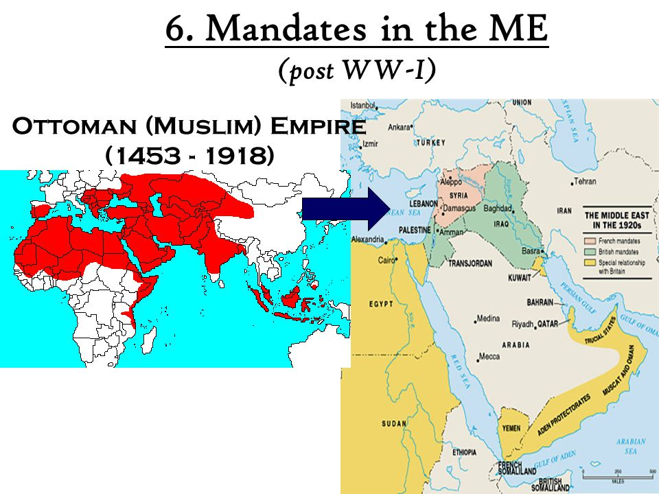 6. Mandates in the ME (post WW-I) Ottoman (Muslim) Empire (1453 - 1918)