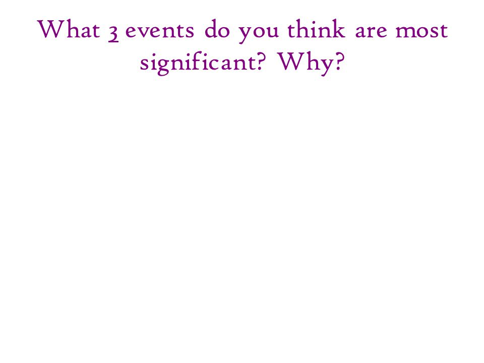 What 3 events do you think are most significant? Why?