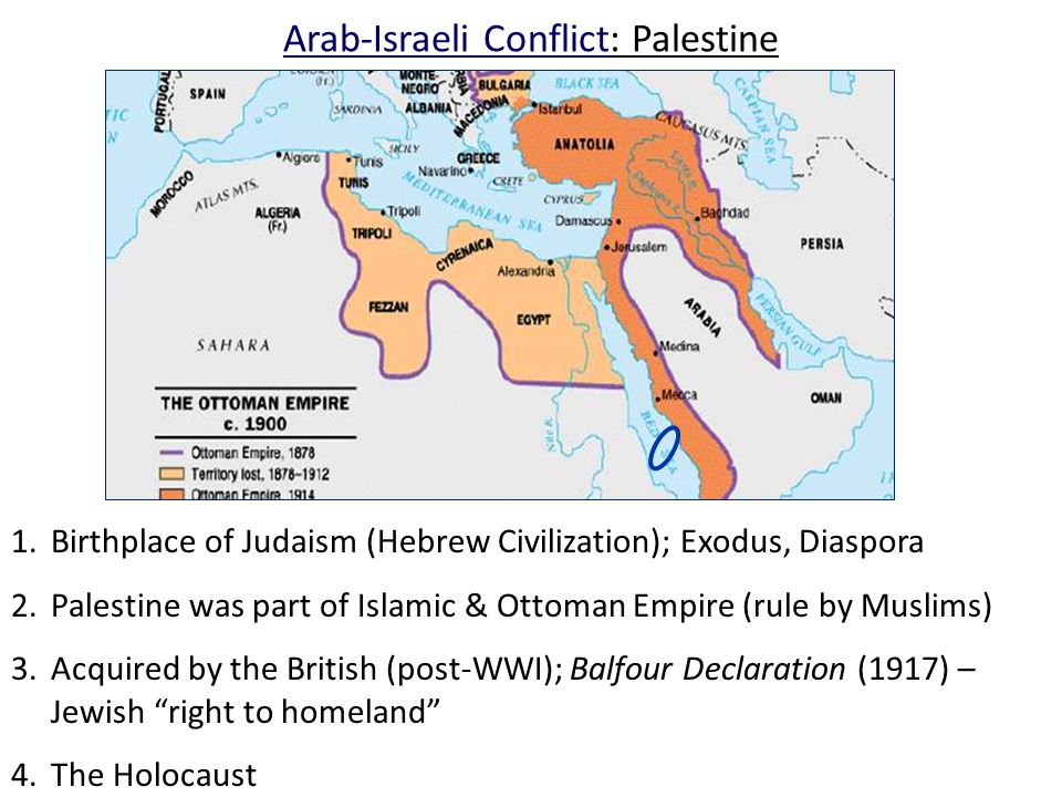 Arab-Israeli Conflict: Palestine 1.Birthplace of Judaism (Hebrew Civilization); Exodus, Diaspora 2.Palestine was part of Islamic & Ottoman Empire (rule by Muslims) 3.Acquired by the British (post-WWI); Balfour Declaration (1917) – Jewish right to homeland 4.The Holocaust