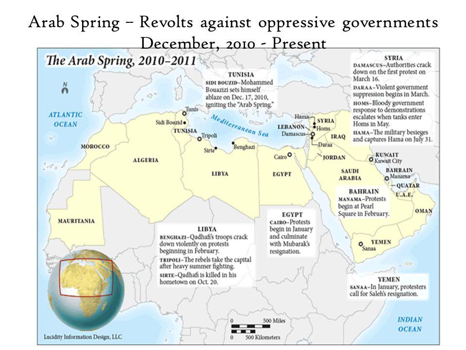 Arab Spring – Revolts against oppressive governments December, 2010 - Present