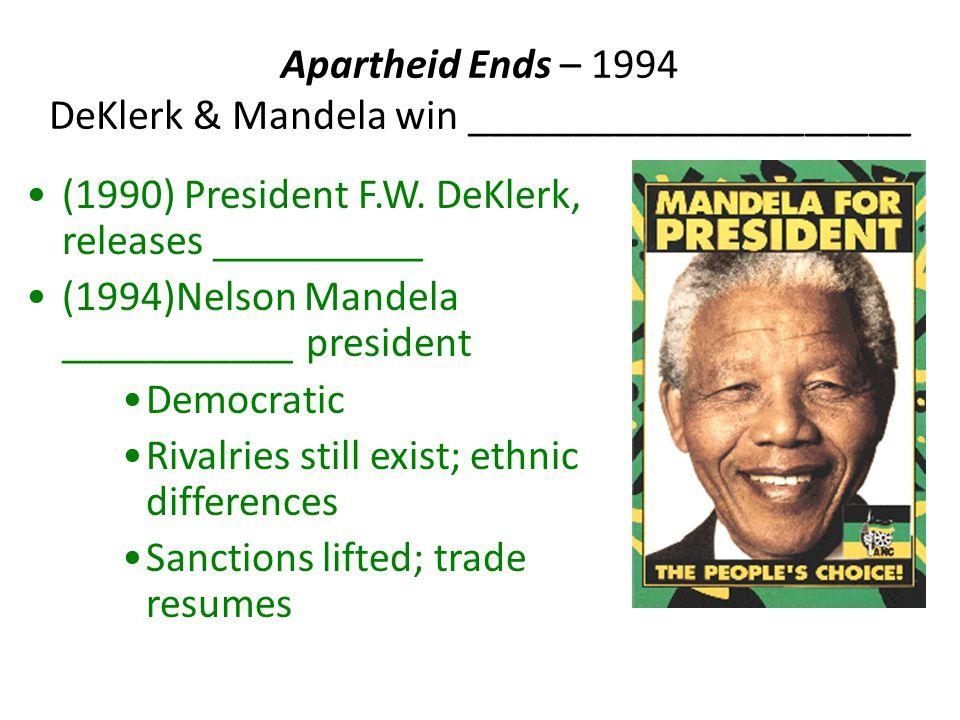 Apartheid Ends – 1994 DeKlerk & Mandela win _____________________ (1990) President F.W.