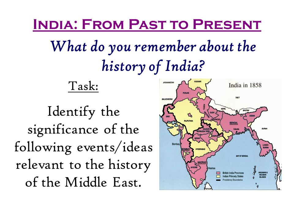 India: From Past to Present What do you remember about the history of India.