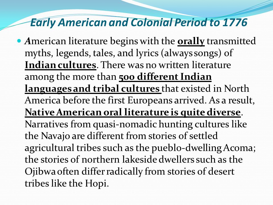 THE COLONIAL PERIOD IN NEW ENGLAND It is likely that no other colonists in the history of the world were as intellectual as the Puritans.