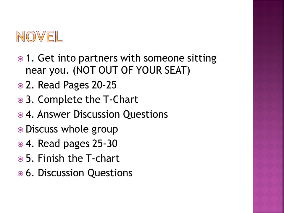  1. Get into partners with someone sitting near you.