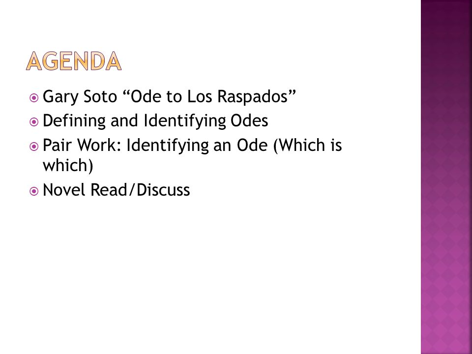  Gary Soto Ode to Los Raspados  Defining and Identifying Odes  Pair Work: Identifying an Ode (Which is which)  Novel Read/Discuss