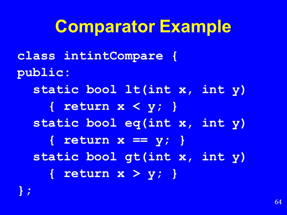 63 Comparator Class How do we generalize comparison.