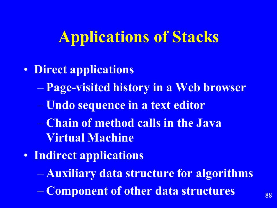 87 Applications of Stacks top1 top2 top1 top2 Two stacks implemented within in a single array,both growing toward the middle