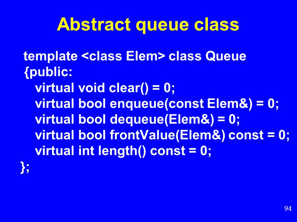 93 Queue Model Queue Q Del Q(S) Add Q (x, Q) x Features of Queue: 1.First-in-first–out (FIFO) 2.Two pointers