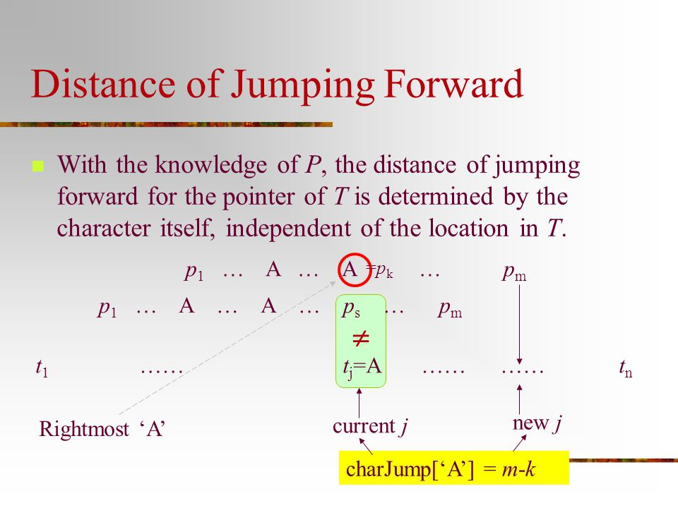 Distance of Jumping Forward With the knowledge of P, the distance of jumping forward for the pointer of T is determined by the character itself, indep