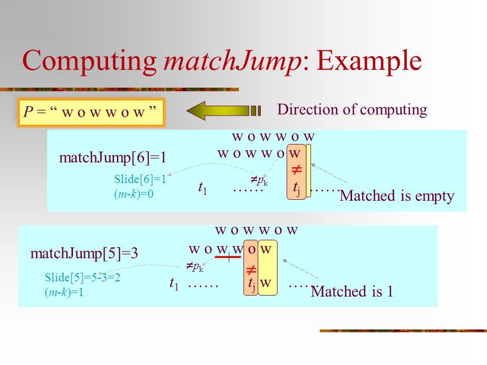 """Computing matchJump: Example P = """" w o w w o w """" matchJump[6]=1 Direction of computing w o w t 1 …… t j ……  Matched is empty w o w matchJump[5]=3 w o"""