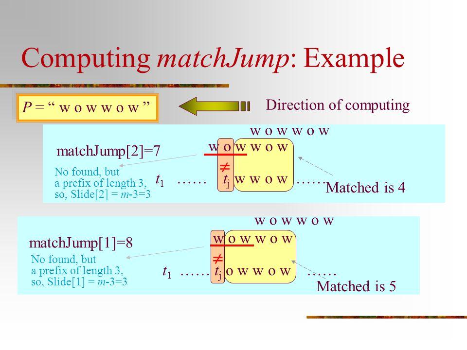 "Computing matchJump: Example P = "" w o w w o w "" matchJump[2]=7 Direction of computing w o w t 1 …… t j w w o w ……  Matched is 4 w o w matchJump[1]=8"