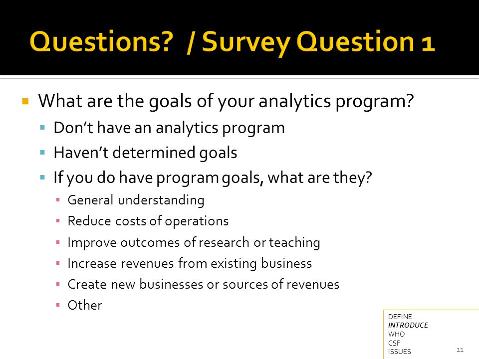  What are the goals of your analytics program.