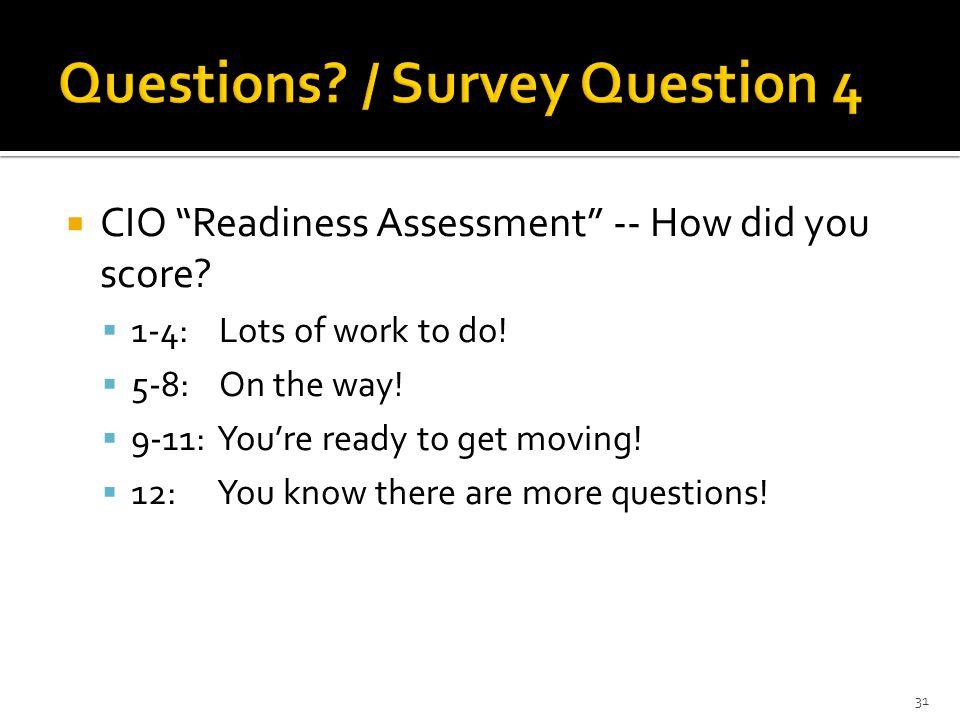  CIO Readiness Assessment -- How did you score.