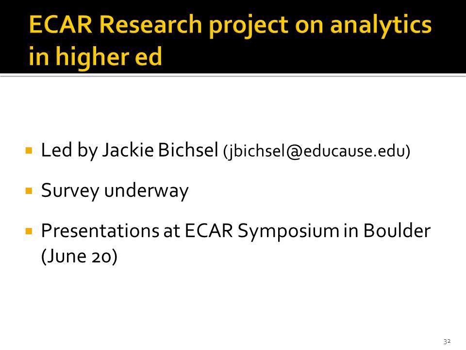  Led by Jackie Bichsel (jbichsel@educause.edu)  Survey underway  Presentations at ECAR Symposium in Boulder (June 20) 32