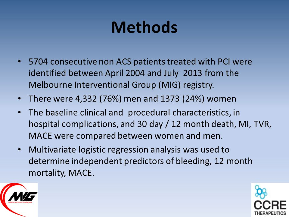 Methods 5704 consecutive non ACS patients treated with PCI were identified between April 2004 and July 2013 from the Melbourne Interventional Group (MIG) registry.