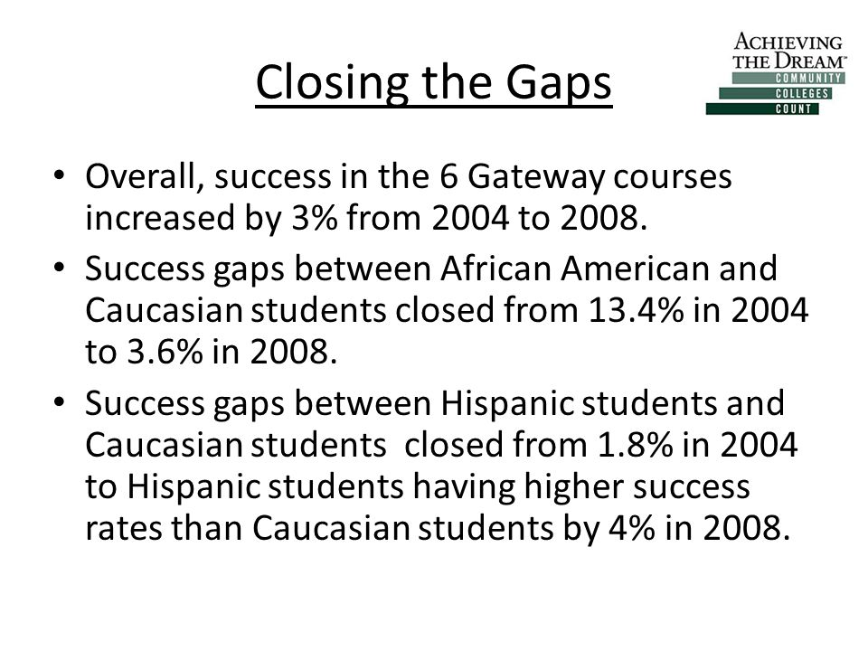 Closing the Gaps Overall, success in the 6 Gateway courses increased by 3% from 2004 to 2008.
