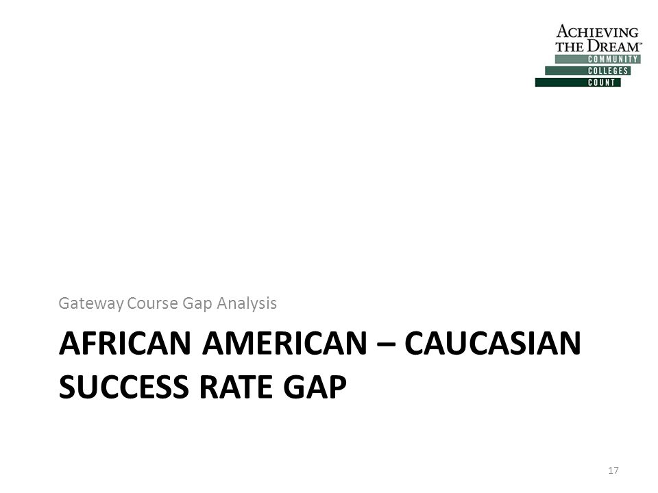 AFRICAN AMERICAN – CAUCASIAN SUCCESS RATE GAP Gateway Course Gap Analysis 17