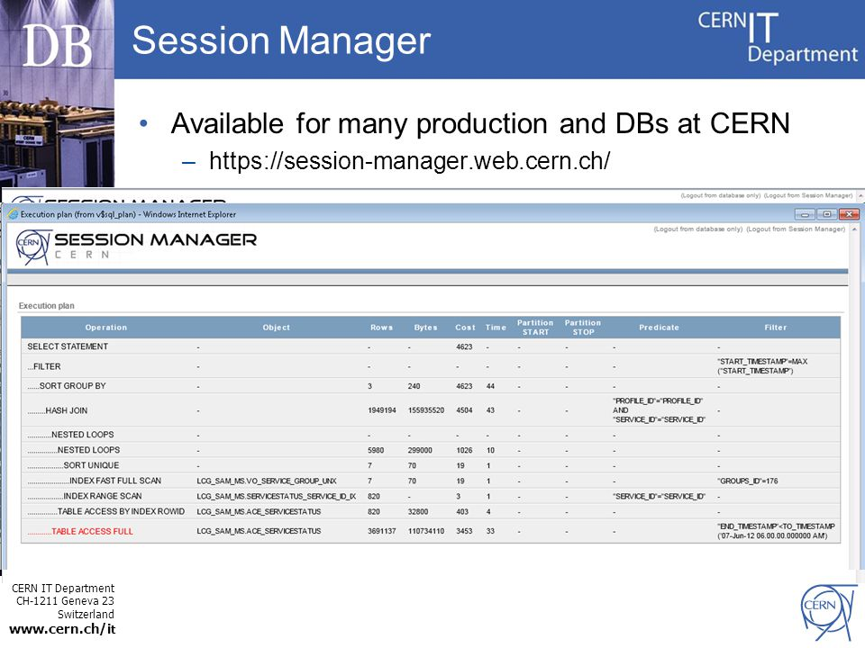 CERN IT Department CH-1211 Geneva 23 Switzerland www.cern.ch/i t Session Manager Available for many production and DBs at CERN –https://session-manage