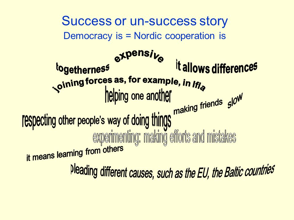 Success or un-success story Democracy is = Nordic cooperation is