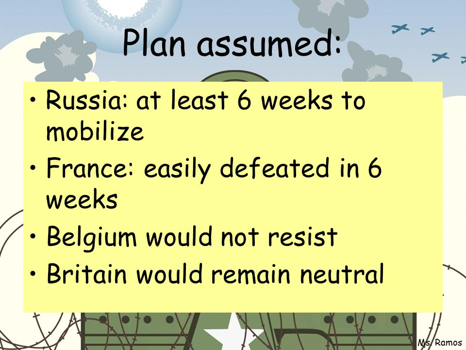 Reality Belgium & BEF held up Germany Russia mobilized in 10 days & G> forced to defend east G did not attack Paris, held up by France @ Marne Ms.