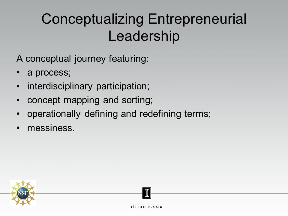Conceptualizing Entrepreneurial Leadership A conceptual journey featuring: a process; interdisciplinary participation; concept mapping and sorting; operationally defining and redefining terms; messiness.