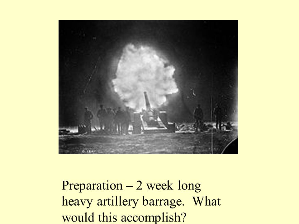 Preparation – 2 week long heavy artillery barrage. What would this accomplish?