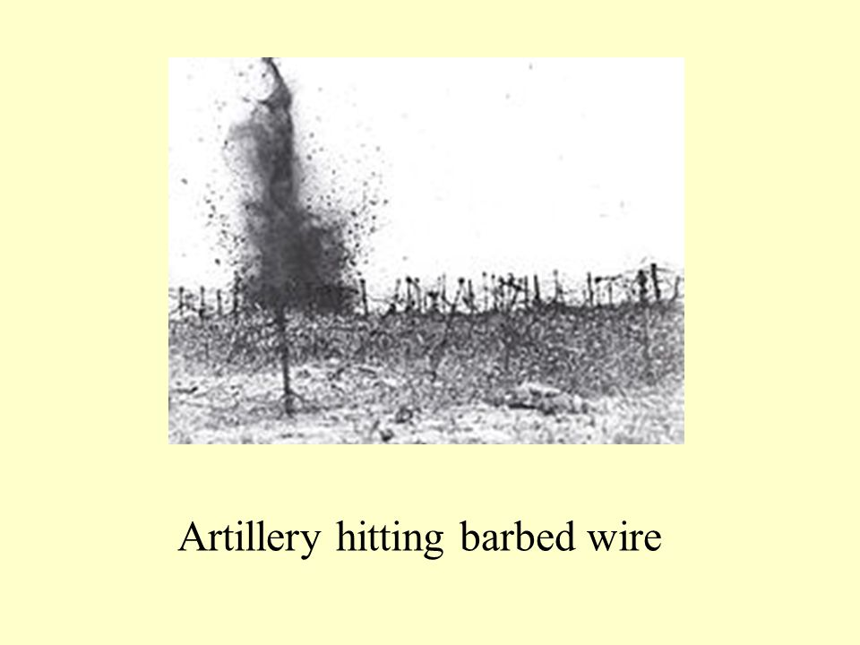 Artillery hitting barbed wire